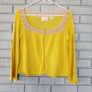 Anthropologie Guinevere mustard crop cardigan